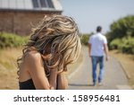 unhappy woman in focus crying... | Shutterstock . vector #158956481