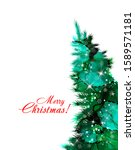 christmas tree watercolor.... | Shutterstock .eps vector #1589571181
