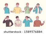 male character doing various... | Shutterstock .eps vector #1589576884