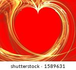 3d rendered golden heart on red ... | Shutterstock . vector #1589631