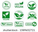 set of vegan signs or green... | Shutterstock .eps vector #1589652721