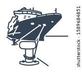Vector Black Icon Ship Moored...