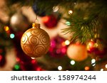 christmas decorations on the... | Shutterstock . vector #158974244