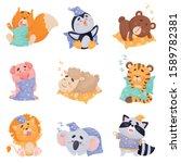 Cute Cartoon Animals Sleeping...