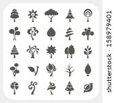 tree icons set on white... | Shutterstock .eps vector #158979401