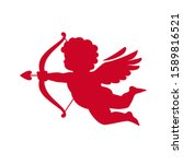 red silhouette of cupid aiming...   Shutterstock .eps vector #1589816521