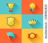 trophy and awards in flat... | Shutterstock .eps vector #158981825