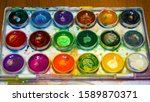 colored watercolor paints in... | Shutterstock . vector #1589870371