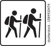 hiking man flat vector icon....   Shutterstock .eps vector #1589920474