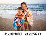 two smiling frozen kids on the... | Shutterstock . vector #158992865