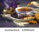 Tea with cookies - stock photo
