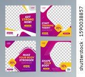 fitness gym social media post... | Shutterstock .eps vector #1590038857