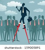 Abstract Businessman has an advantage. Vector illustration of Retro styled Businessman who has got an advantage over his rivals by using lateral thinking to give him an edge.  - stock vector
