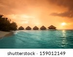 over water bungalows with steps ... | Shutterstock . vector #159012149