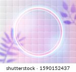neon round frame glowing on... | Shutterstock .eps vector #1590152437