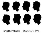set of man silhouettes  retro... | Shutterstock .eps vector #1590173491