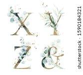 Gold Green Floral Alphabet Set  ...