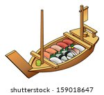 a selection of sushi in a... | Shutterstock .eps vector #159018647