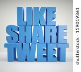 blue like share tweet | Shutterstock . vector #159019361