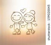 skaters couple hand drawn... | Shutterstock .eps vector #159020045
