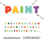 cartoon paint font for kids... | Shutterstock .eps vector #1590230467