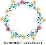 vector floral frame   wreath... | Shutterstock .eps vector #1590241981
