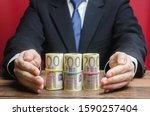 Businessman Covers With Hands...