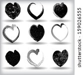 set of black grunge hearts  | Shutterstock .eps vector #159026555