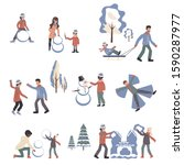 people in winter clothes... | Shutterstock .eps vector #1590287977