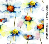 seamless pattern with chamomile ...   Shutterstock . vector #159029081