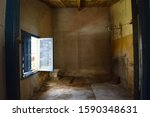 Small photo of Old and into abeyance bathroom and open window.
