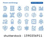 set of vector line icon  power...