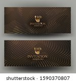 gold vip invitation cards with... | Shutterstock .eps vector #1590370807