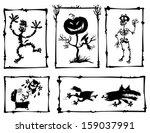 horror cartoon silhouettes. | Shutterstock .eps vector #159037991