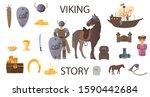 Viking Story In A Cartoon Styl...
