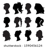 hair style woman. beautiful... | Shutterstock .eps vector #1590456124