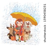 girl with dogs and cats stands... | Shutterstock .eps vector #1590458251