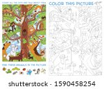 funny cats sit on a high tree.... | Shutterstock .eps vector #1590458254
