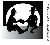 black and white vector...   Shutterstock .eps vector #1590472387