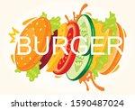 tasty king burger  fast food... | Shutterstock .eps vector #1590487024