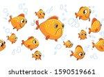aquarium goldfish. funny... | Shutterstock .eps vector #1590519661