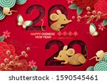 2020 year of the rat design... | Shutterstock . vector #1590545461