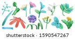 spring grass and flowers.... | Shutterstock .eps vector #1590547267