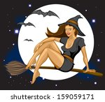 sexy witch flying by full moon... | Shutterstock .eps vector #159059171