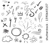hand drawn collection of design ... | Shutterstock .eps vector #1590645157