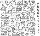 set of fried chicken doodle...   Shutterstock .eps vector #1590695221