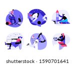 a boy cleaning a house  a... | Shutterstock .eps vector #1590701641