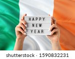 Ireland New Year Concept. Woma...