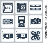 Vector Hardware Icons Set  Cpu...
