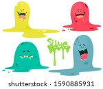 cute cartoon slime monsters ... | Shutterstock .eps vector #1590885931